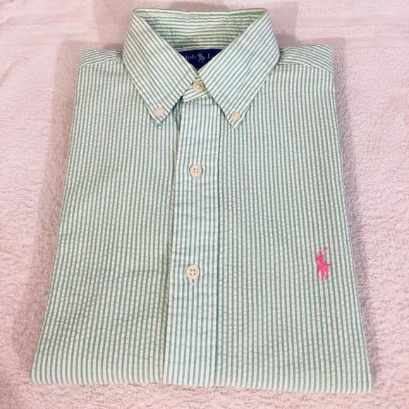 a966131c2 Polo Ralph Lauren Green & White Seersucker Shirt S.  M_5aa5897e5512fdf14af5c1a8